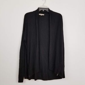 Banana republic black zipper detail open cardigan